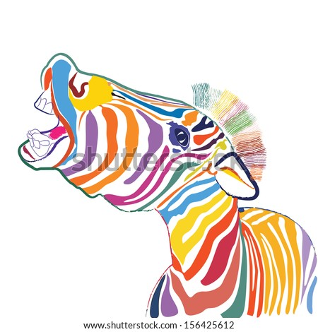 a happy emotional multicolored zebra, vector - stock vector