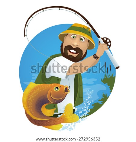 A happy fisherman catches fish from the lake.