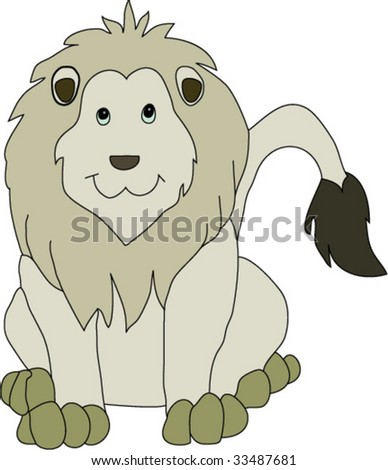 A happy, friendly looking lion, looking straight at the user, with his tail to the right side. - stock vector
