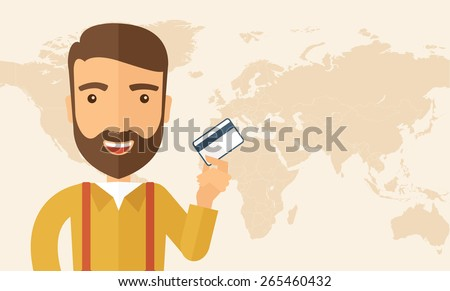 A happy hipster Caucasian businessman thankfully standing holding his a credit card. Fulfillment concept. A contemporary style. Vector flat design illustration isolated on white background.  - stock vector