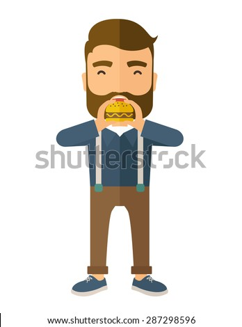A happy Hipster office man eating hamburger as his snack break. Relaxing concept. A Contemporary style. Vector flat design illustration isolated white background. Vertical layout. - stock vector