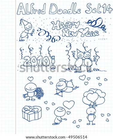 A happy new year / valentine collection of doodles - stock vector
