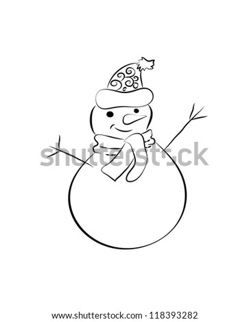 A happy snowman wearing Santa Claus's hat. - stock vector