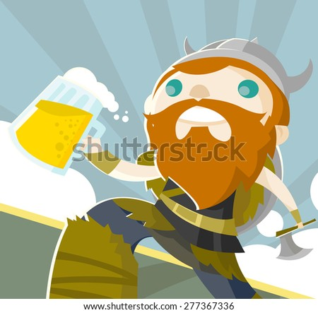 a happy viking with his beer - stock vector