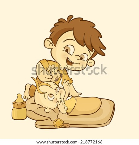 a happy young boy playing and caring of his baby sister. happy baby girl enjoying playing with her big brother... - stock vector