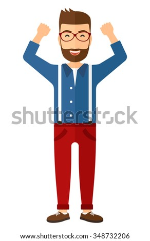 A happy young hipster man in glasses with raised hands up vector flat design illustration isolated on white background. Vertical layout. - stock vector