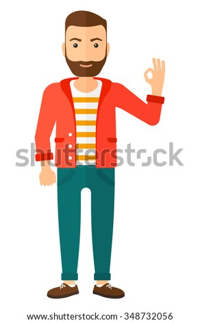 A happy young hipster man with the beard gesturing OK sign vector flat design illustration isolated on white background. Vertical layout. - stock vector