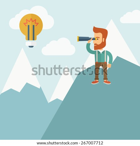 A Happy young hipster man with the beard holding telescope looking the bulb on the top of the blue mountain with snow trying to get some ideas on the sky. A contemporary style with pastel palette soft - stock vector
