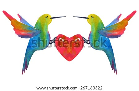 A heart and birds. Watercolor vector illustration.