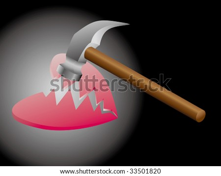 a heart broken by a hammer - stock vector