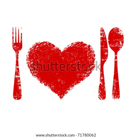 A heart health concept - red heart plate, knife, spoon and fork - stock vector