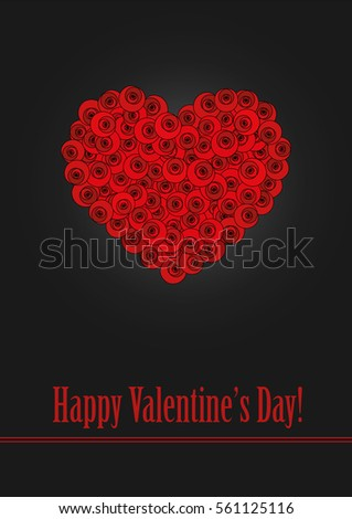A heart made of stylized red roses on dark background.