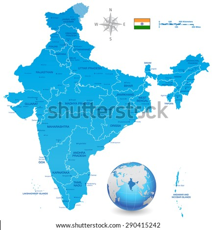A High Detail vector Map of the Republic of India Federation states and Union Territories and major cities, with a 3D vector Globe centered on India - stock vector
