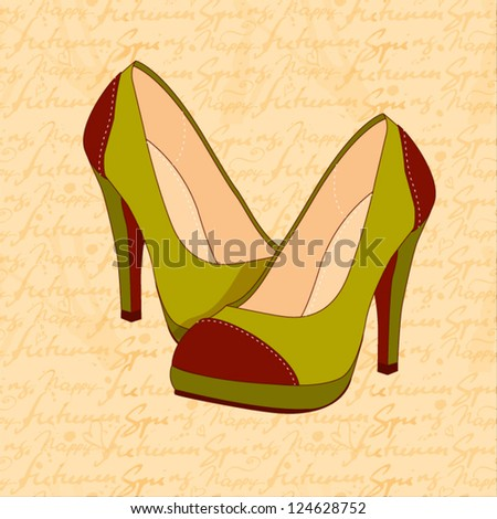 a high-heeled vintage green shoes with hand draw text pattern - stock vector