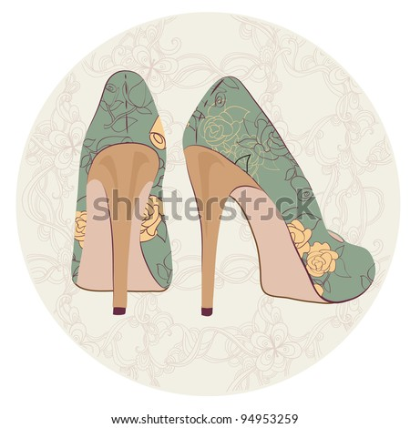 high-heeled vintage shoes with flowers - stock vector