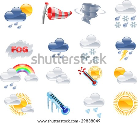 A high quality icon set relating to weather and weather forecasting. - stock vector
