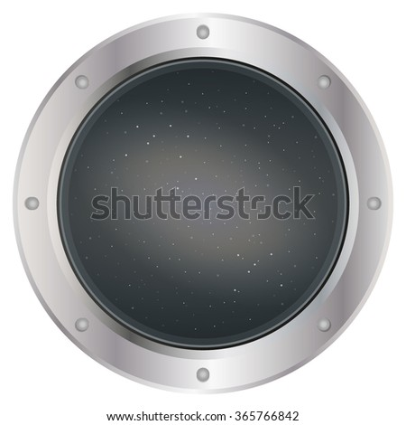 A high quality of dark silver spaceship window porthole with space, dark grey sky, and stars vector. Vector illustration