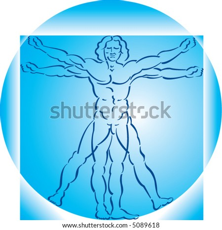A highly stylized drawing of vitruvian man in two shades of blue - stock vector