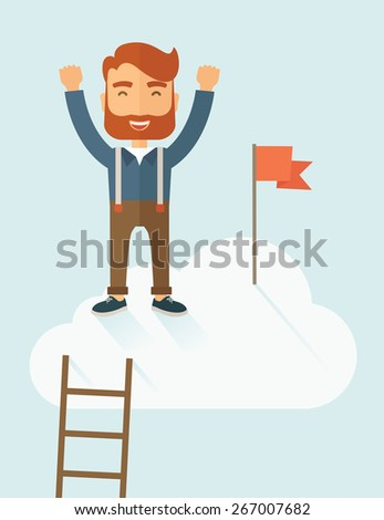 A hipster businessman climbed using the ladder and standing on the top of the cloud holding the red flag. Leadership concept. A contemporary style with pastel palette soft blue tinted background with - stock vector