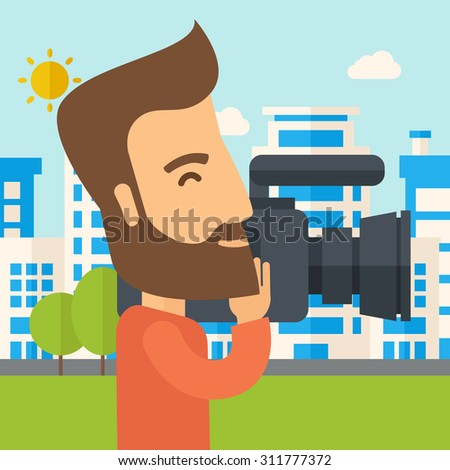 A hipster cameraman with video camera taking a video with thye buildings around. A Contemporary style with pastel palette, soft blue tinted background with desaturated clouds. Vector flat design - stock vector
