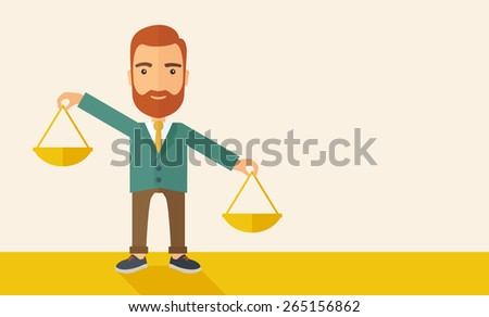 A hipster Caucasian businessman with beard carrying a balance scale with both hands weighing want and need. Balancing and prioritization concept.  A contemporary style with pastel palette, beige tinted - stock vector