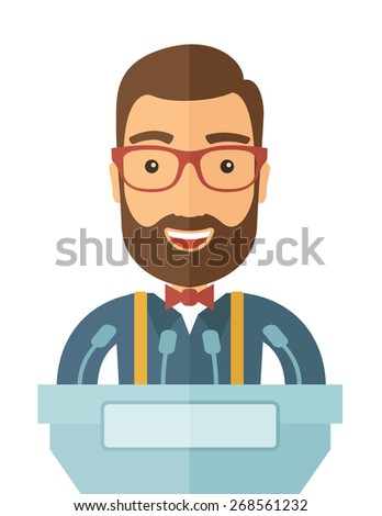 A hipster Caucasian speaker delivers a speech at the podium with a microphone. Wide and expressive gestures of the speakerA Contemporary style. Vector flat design illustration with isolated white - stock vector