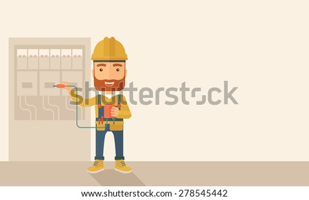 A hipster Electrician wearing hard hat repairing an electrical panel. A Contemporary style with pastel palette, soft beige tinted background. Vector flat design illustration. Horizontal layout with - stock vector