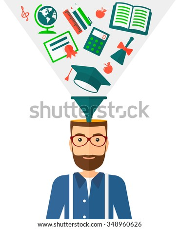 A hipster man with multiple icons above his head symbolizing knowledge vector flat design illustration isolated on white background. Vertical layout.