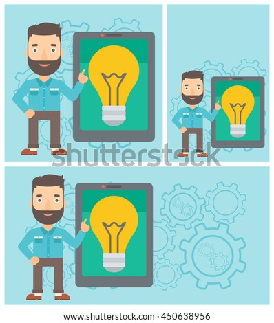 A hipster man with the beard pointing at a big tablet computer. Man standing near tablet computer with a light bulb on a screen. Vector flat design illustration. Square, horizontal, vertical layouts. - stock vector