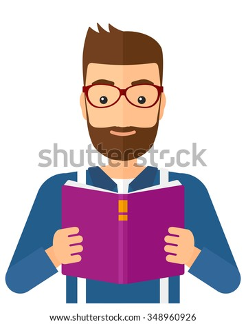 A hipster man with the beard reading a book vector flat design illustration isolated on white background. Vertical layout. - stock vector
