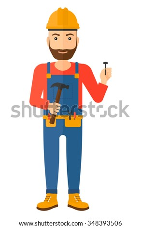 A hipster repairman in helmet with a hummer and a nail in hands vector flat design illustration isolated on white background. Vertical layout. - stock vector