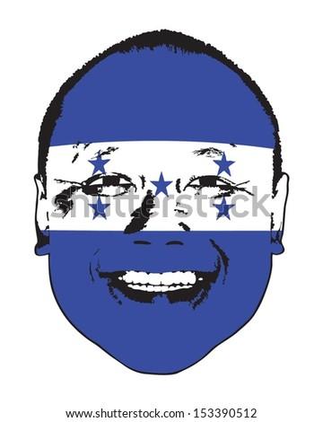 A Honduras flag on a face, isolated against white.  - stock vector