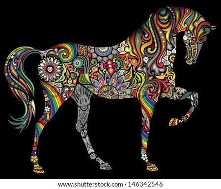 A horse and a rainbow on a black background. - stock vector