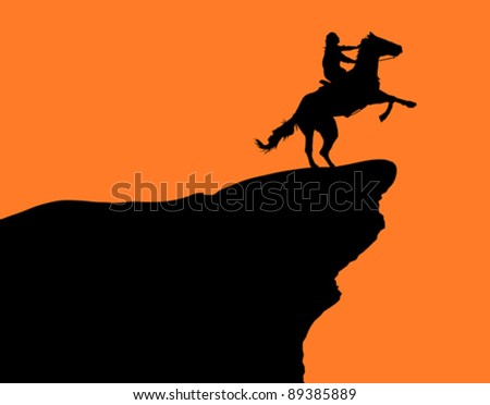 A horse and rider on a cliff at sunset (illustration). - stock vector