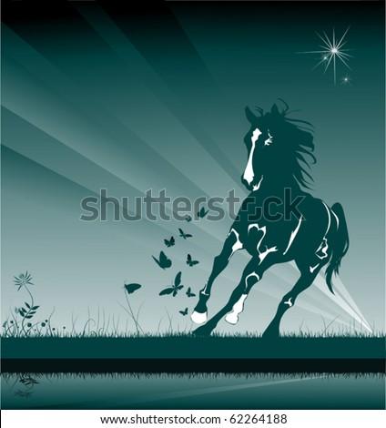 A horse gallops through the night among a field of butterflies; - stock vector
