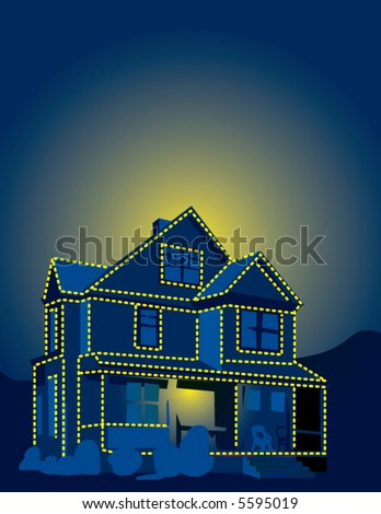 A house at night decked out in Christmas lights - stock vector