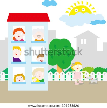 A house inside a peaceful neighborhood. Family members are looking out the windows. The youngest girl is playing outside with the dog. - stock vector