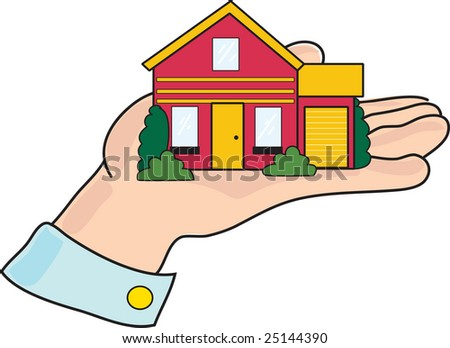 A house is sitting in the palm of a mans hand