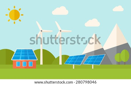 A house with alternative energy consumption, solar panel and wind mills. A Contemporary style with pastel palette, soft blue tinted background with desaturated clouds. Vector flat design illustration - stock vector