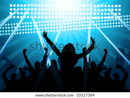A huge audience of people cheering! - stock vector