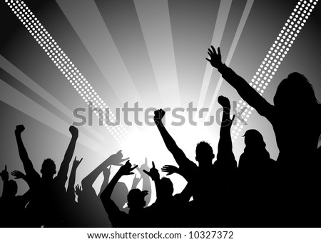 A huge crowd at a concert cheering! - stock vector