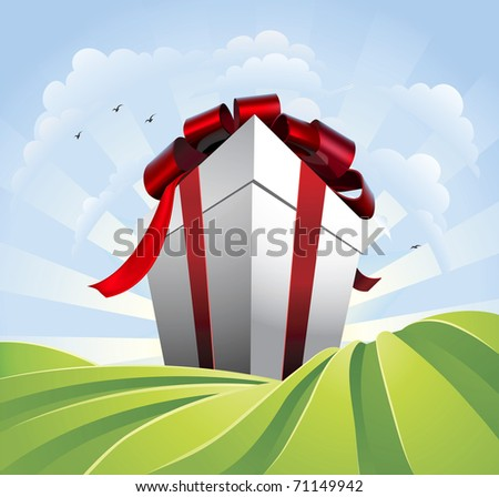 A huge gift. Conceptual illustration of a huge present with bow towering over fields. Could represent a massive sale or bargain. - stock vector