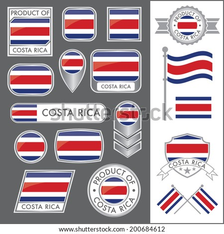 A huge vector collection of Costa Rican flags in multiple different styles. In total there are 17 unique treatments that will be useful for a variety of applications. - stock vector