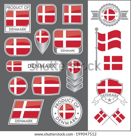 A huge vector collection of Danish flags in multiple different styles. In total there are 17 unique treatments that will be useful for a variety of applications. - stock vector