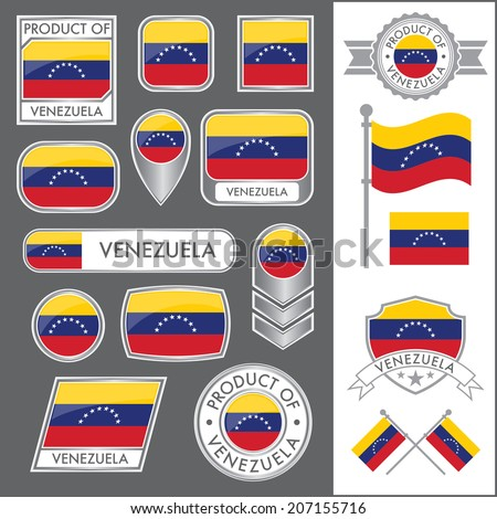 A huge vector collection of Venezuelan flags in multiple different styles. In total there are 17 unique treatments that will be useful for a variety of applications. - stock vector