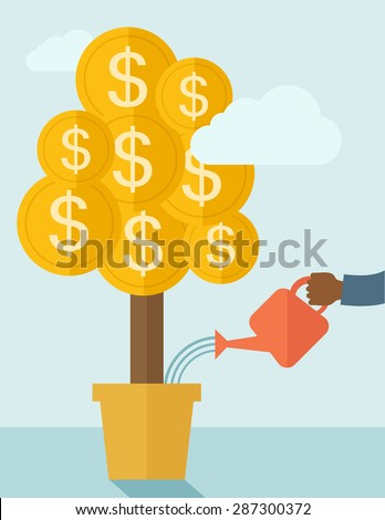 A human hand holding a can watering the money tree to grow bigger. Hardworking concept. A contemporary style with pastel palette soft blue tinted background with desaturated clouds. Vector flat design - stock vector