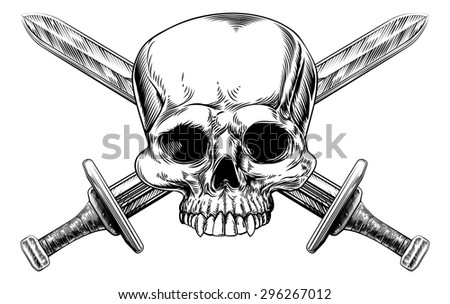 A human skull and crossed swords pirate style sign in a vintage style - stock vector