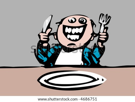 A hungry diner waits happily for dinner. He is crazy with joy. - stock vector