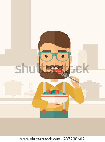 A hungry man eating meal with his fork and by carrying the bowl. Craving concept. A Contemporary style with pastel palette, soft beige tinted background. Vector flat design illustration. Vertical - stock vector