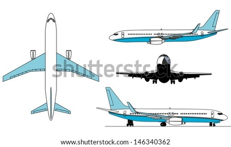 A illustration of airplanes silhouettes . - stock vector